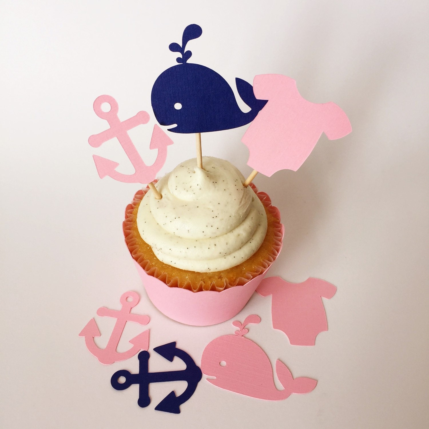 290c2ae92 24 Nautical baby shower cupcake toppers, pink anchors and whales ...
