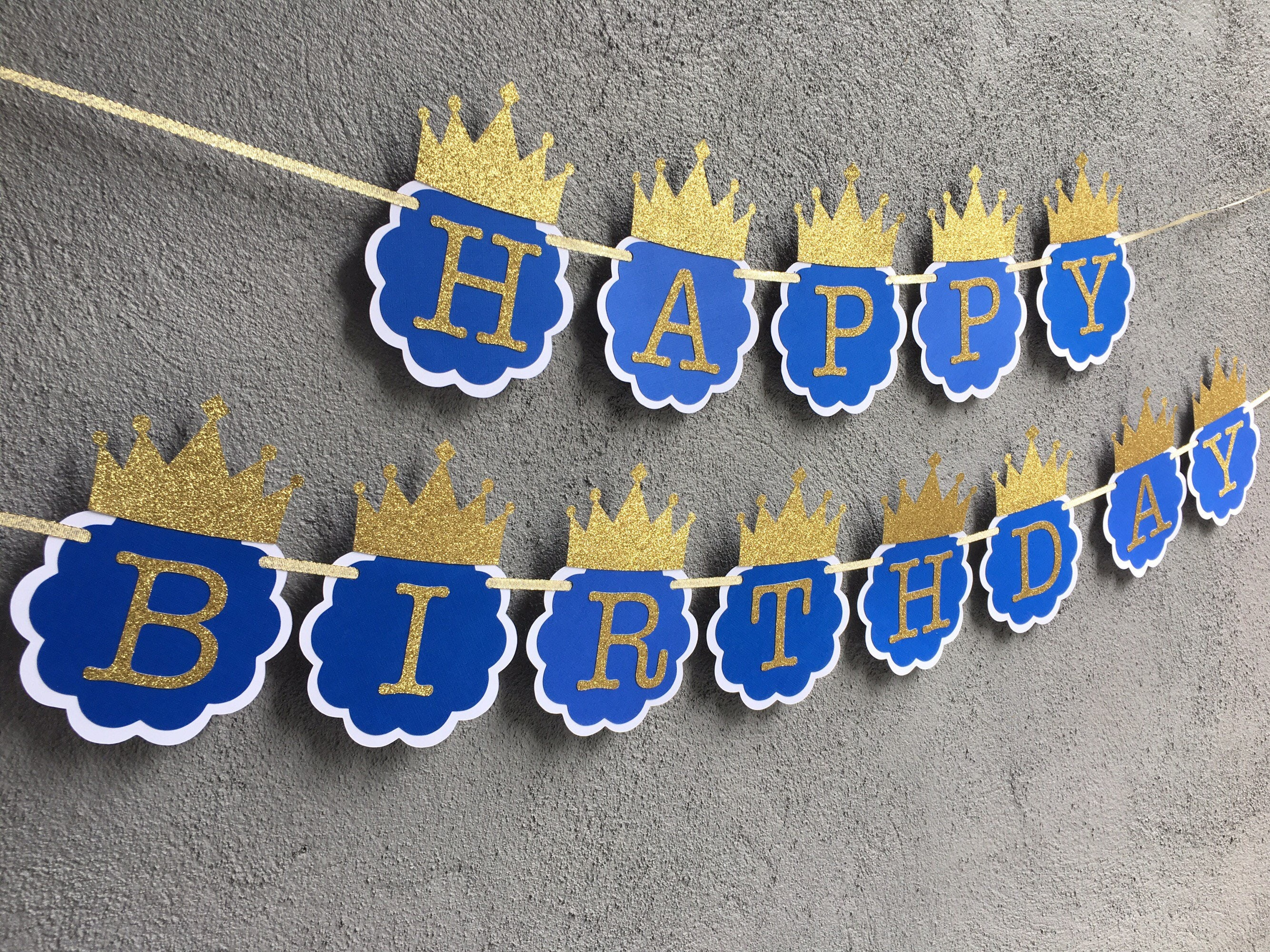 royal prince birthday banner royal blue and gold birthday party