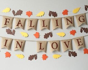 Falling In Love Burlap Banner, Fall Decor, Fall Wedding, Falling in Love bunting, leaf garland, thanksgiving banner