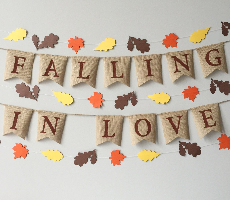 Falling In Love Burlap Banner Fall Decor Fall Wedding Falling In Love Bunting Leaf Garland Thanksgiving Banner
