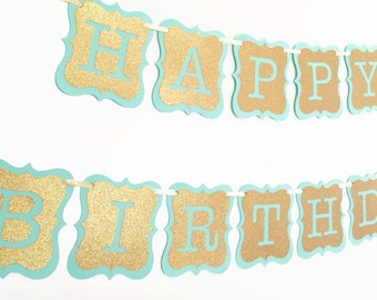 Mint and gold birthday banner, mint and gold first birthdat, mint and gold banner