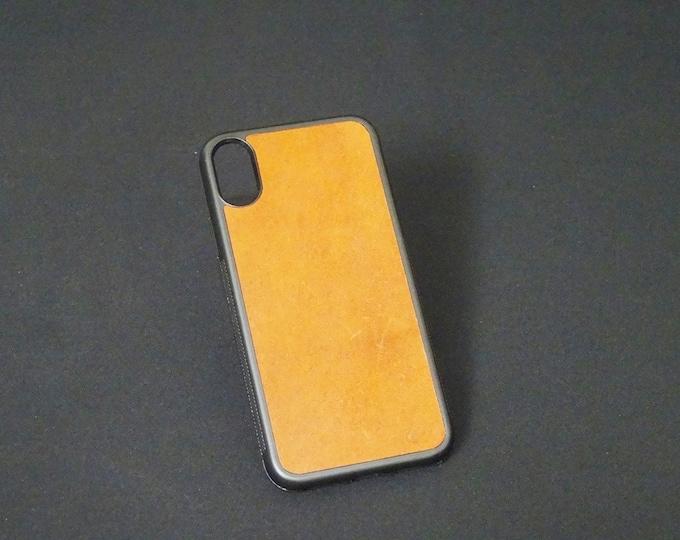 Apple iPhone X XS 10 - Jimmy Case - Genuine Kangaroo Leather Handmade iPhone Protective Rubber Phone Case - Whiskey Tan