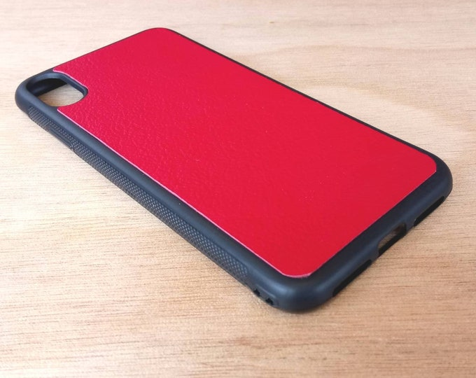 Apple iPhone XS Max - Jimmy Case - Genuine Kangaroo Leather Handmade iPhone Protective Rubber Phone Case - Red