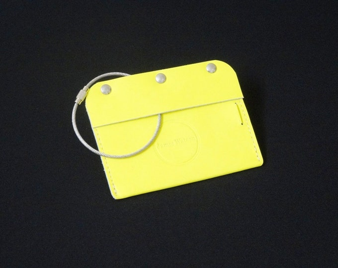 James Watson Travel Luggage Tag - Handmade kangaroo leather baggage passport ID travel luggage tag - Yellow