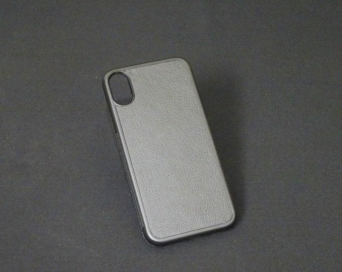 Apple iPhone X XS 10 - Jimmy Case - Genuine Kangaroo Leather Handmade iPhone Protective Rubber Phone Case - Black