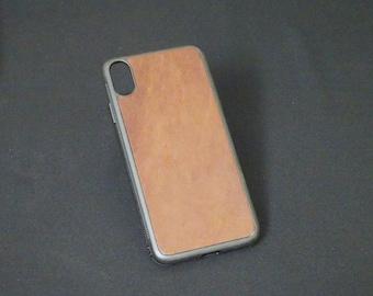 Apple iPhone XS Max - Jimmy Case - Genuine Kangaroo Leather Handmade iPhone Protective Rubber Phone Case - Brandy Tan