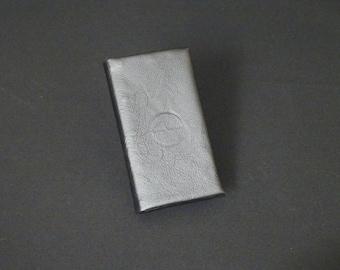 Apple 5 5S 5SE 5C - Smartfold Phone Wallet - Genuine Kangaroo Leather Phone Protective Rubber Case Wallet RFID - Black Satin