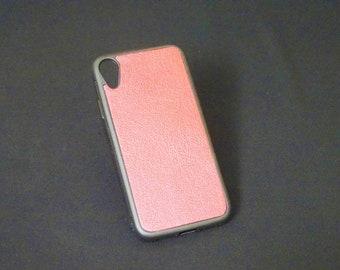 Apple iPhone XR - Jimmy Case - Genuine Kangaroo Leather Handmade iPhone Protective Rubber Phone Case - Metallic Red
