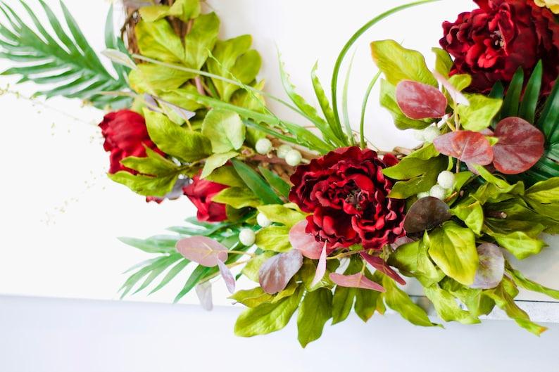 tropical wreath door wreath wreath Large wreath peony wreath large flower wreath