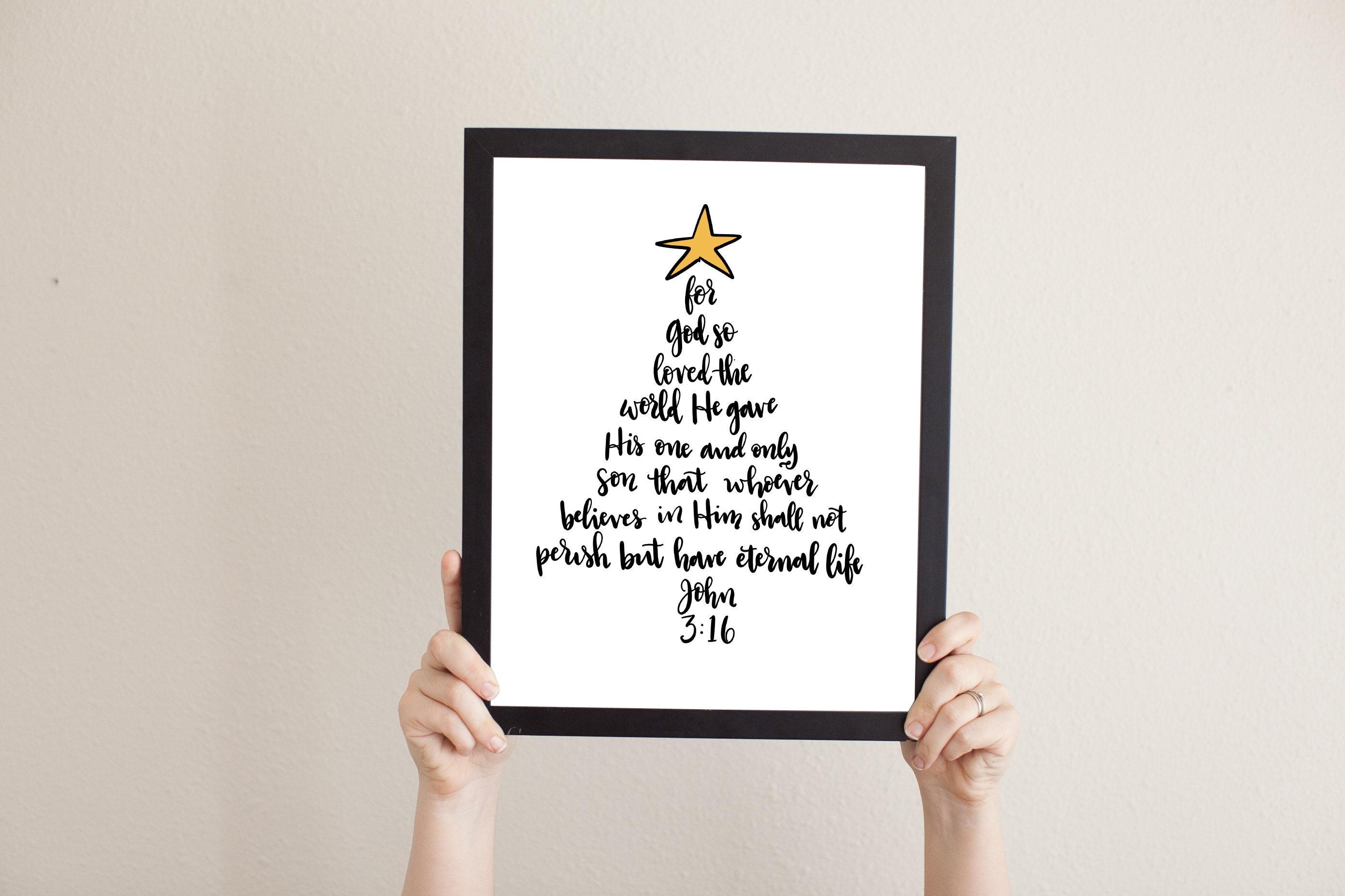 John 3:16 For God so Loved the World Religious Christmas | Etsy