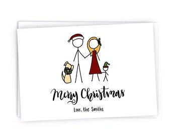 Custom Christmas Cards with Envelopes- Digitally Hand Drawn Christmas Card - Custom Stick Figure Portrait Family Christmas