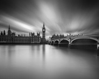 London Fine Art Photo Print: Clockwork, Big Ben, Elizabeth Tower, Parliament, Westminster Bridge and The Thames, Photograph, England,