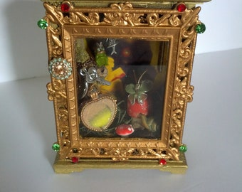 OOAK hand crafted Fairy Garden Diorama Shadowbox