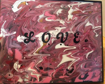 8 by 10 Love abstract framed art
