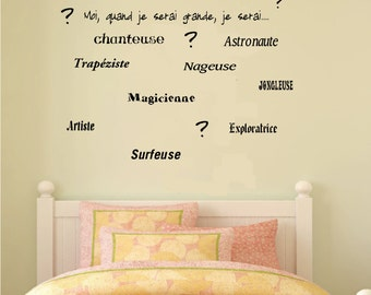 No. wall decal. E-004 - girl - me, when I grow up, I will be child-