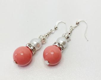 Coral Drop Earrings Wedding Earrings Bridesmaid Gift Wedding Jewelry Shell Pearl Earrings White Pearl Jewellery Coral Bridesmaid Flower Girl