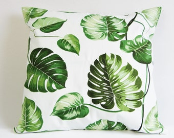 Leaf pillow cover, plant print cushion cover, botanical pillow case,  green and white throw pillow cover 18 by 18 inch