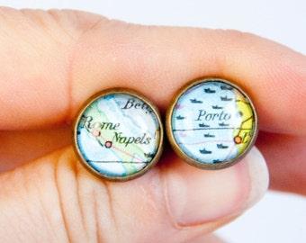 Custom map cufflinks, custom city cufflinks, personalised gift, anniversary gift, map jewelry, statement cufflinks, brass finish