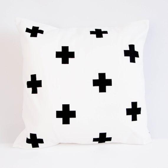Black Crosses Pillow Cover Modern Monochrome Nursery Decor Etsy