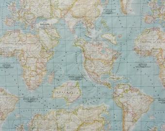 World map fabric, per half a yard, craft fabric, America, Africa, Europe, Asia,