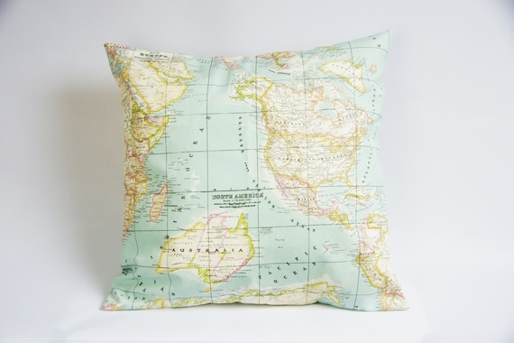 World map pillow cover atlas cushion cover throw pillow etsy image 0 gumiabroncs Choice Image