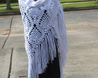 Crochet Shawl: Boho Pineapple Crochet Shawl in White