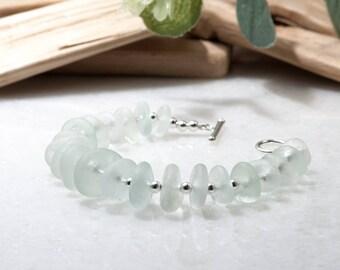 Sea Glass Bracelet - Real Sea Glass Jewelry | Seaglass Jewellery | Unique Birthday Gift | Ocean Bracelet | 925 Sterling Silver Sea Glass
