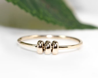 Gold Fidget Ring | 9ct Gold Spinner Rings |  Worry Bead Ring