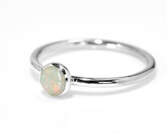 Opal Ring |  Sterling Silver Real Opal- Plenty of Fire * LAST ONE * Size N