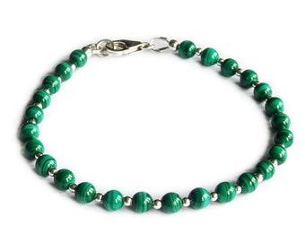 Malachite Bracelet | 925 Sterling Silver Beads | A Grade