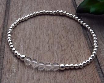 Rock Crystal Bracelet | Sterling Silver, Real Gemstone | Healing Crystals