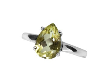Lemon Quartz Ring |  Sterling Silver  Real Gemstone | Size J