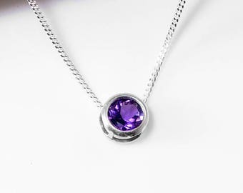 Slider Necklace | Amethyst Necklace | Sterling Silver Amethyst Jewelry | February Birthstone Necklace | 925 Amethyst Pendant | Gift for Her