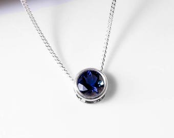 925 Iolite Necklace | Sterling Silver Iolite Jewelry | Slider Necklace | 925 Iolite Pendant | Gift for Her | UK