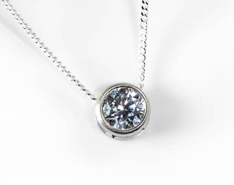 CZ Necklace | Slider Necklace | Sterling Silver CZ Jewelry | Cubic Zirconia Necklace | 925 CZ Pendant | Gift for Her