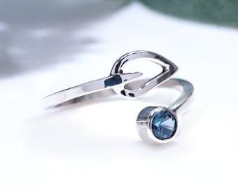 Silver London Blue Topaz Adjustable Thumb Ring
