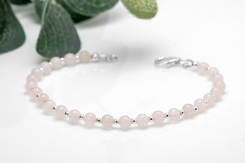 Rose Quartz Bracelet  925 Sterling Silver Jewelry image 0