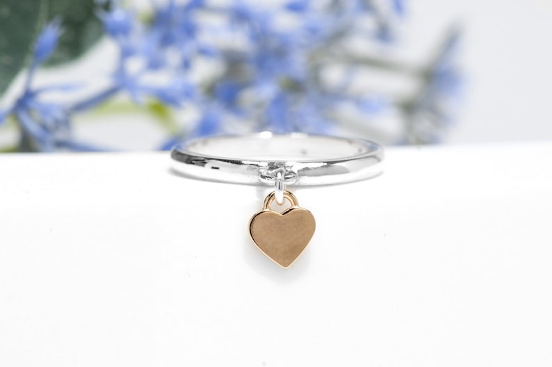 Heart Charm Ring  Sterling Silver Dangle Ring  Gift for Her image 0