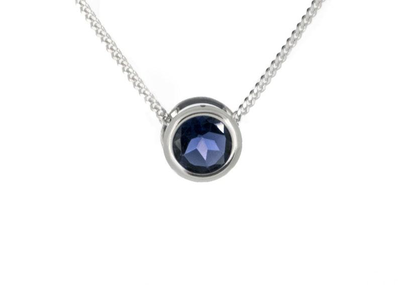 Iolite Necklace  925 Silver Slider Pendant  Quality Gemstone image 0
