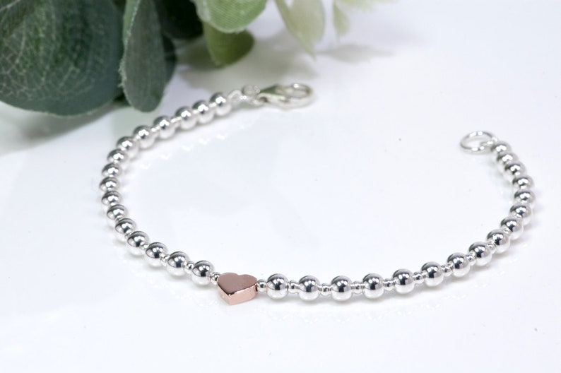 Silver Bead Bracelet with Rose Gold Heart   925 Sterling image 0