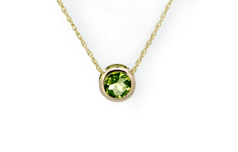 9ct Gold Peridot Necklace  Gold Birthstone Slider Necklace image 0