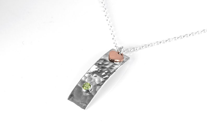 Peridot Necklace  Sterling Silver with Hammered Finish & image 0
