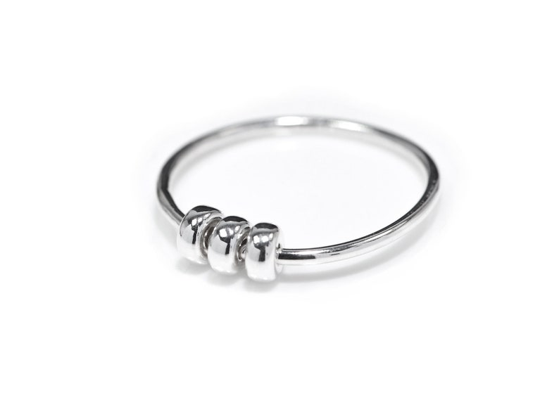 Fidget Ring  925 Sterling Silver Spinner Rings for Anxiety image 0