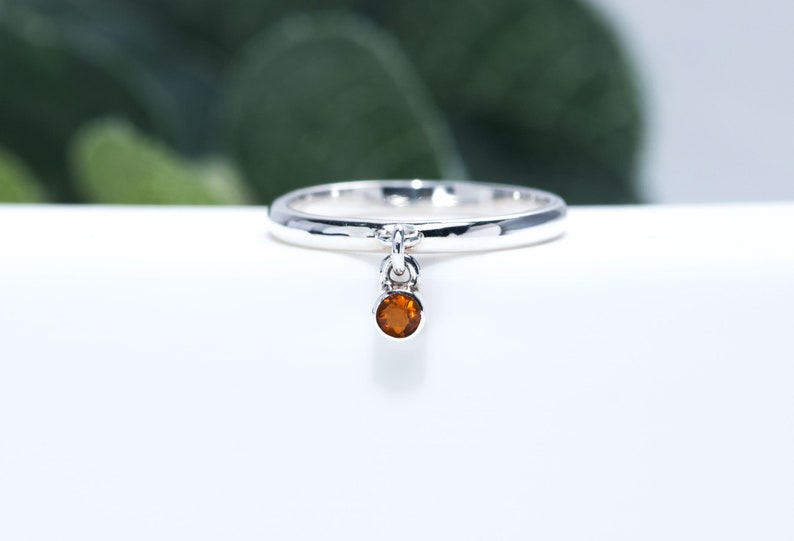 Mexican Fire Opal Ring  Sterling Silver Birthstone Charm Ring image 0