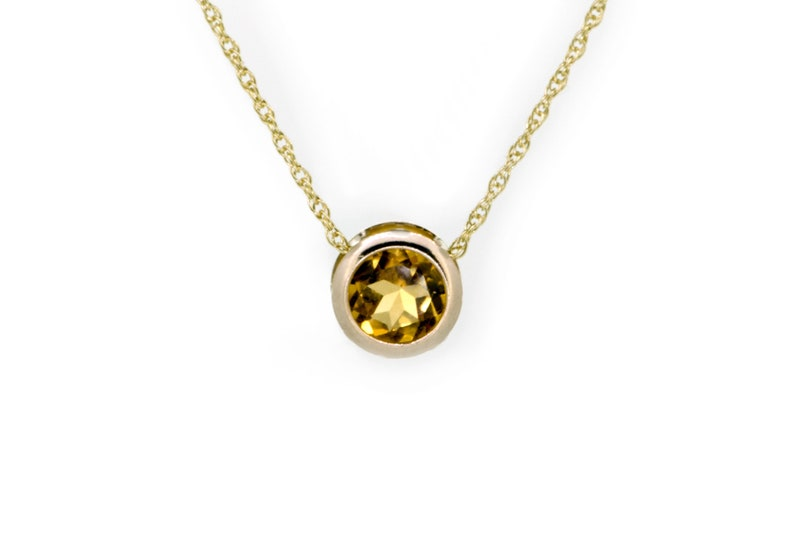 9ct Gold Citrine Necklace  Citrine Birthstone Jewelry image 0