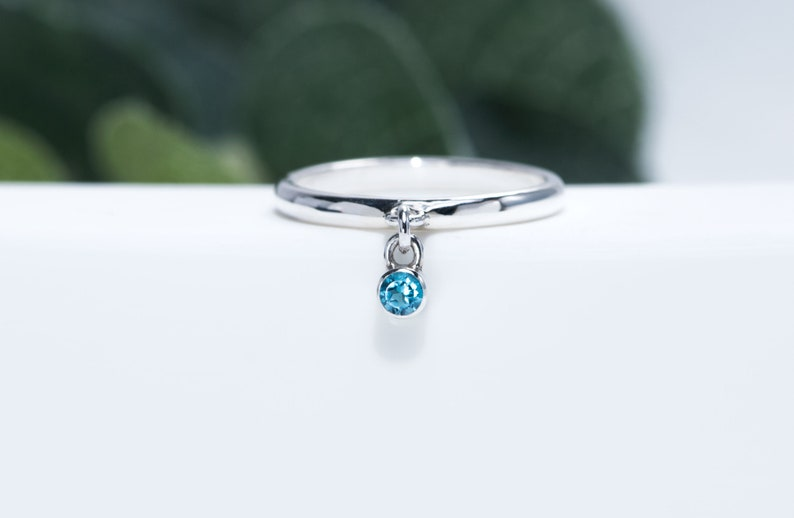 Charm Ring  Swiss Blue Topaz Ring  Topaz Jewelry  Silver image 0