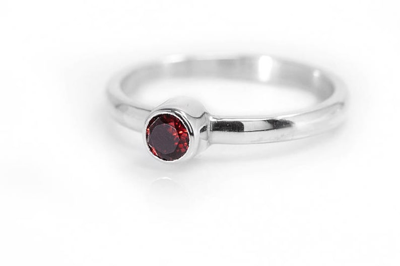 Garnet Ring  January Birthstone 925 Sterling Silver Ring image 0