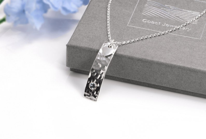 Aquamarine Necklace  Sterling Silver with Hammered Finish & image 0