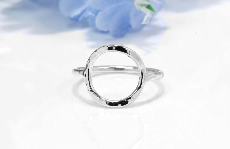 Geometric Ring  Hammered Silver Open Circle Ring image 0