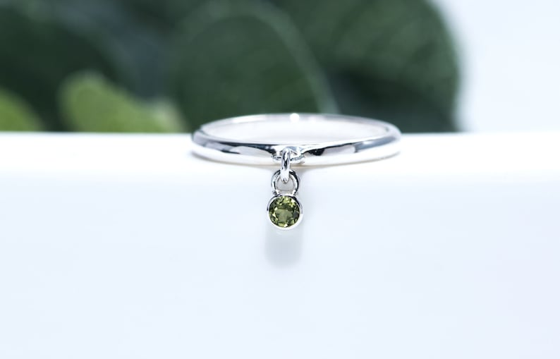 Charm Ring  Peridot Gemstone Dangle Charm Ring image 0